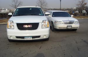 One White Excalibur and One 20 Passenger Super Stretch White Limousine (Hummer or Scalade)