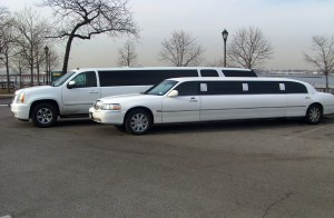 One 10 White Excalibur and One 10 Passenger White Limousine